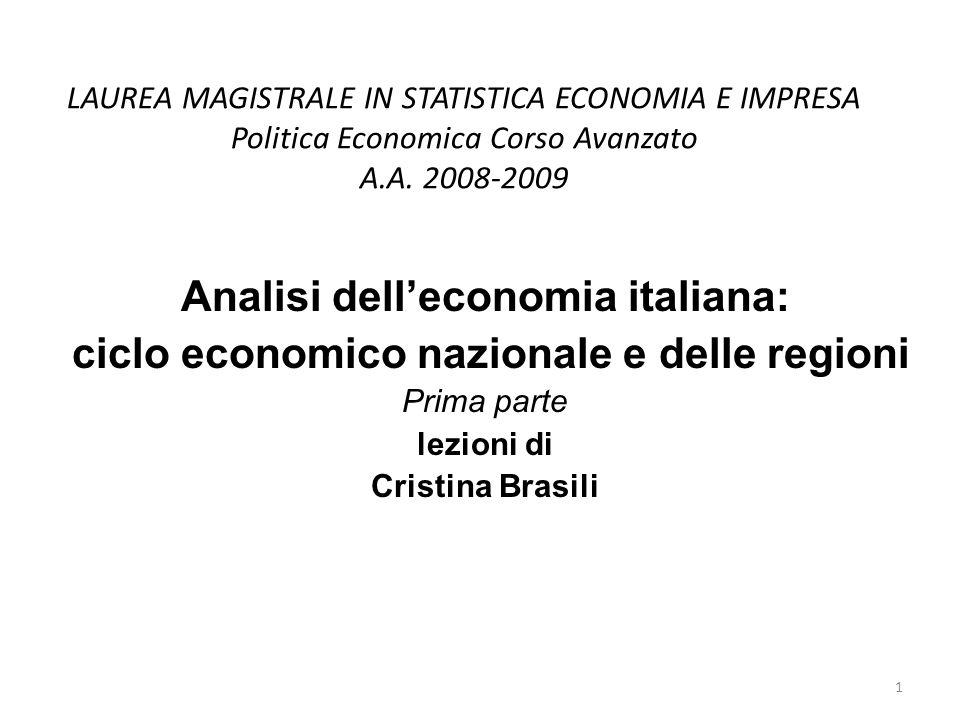 LAUREA MAGISTRALE IN STATISTICA ECONOMIA E IMPRESA Politica Economica Corso Avanzato A.A. 2008-2009 Analisi delleconomia italiana: ciclo economico naz