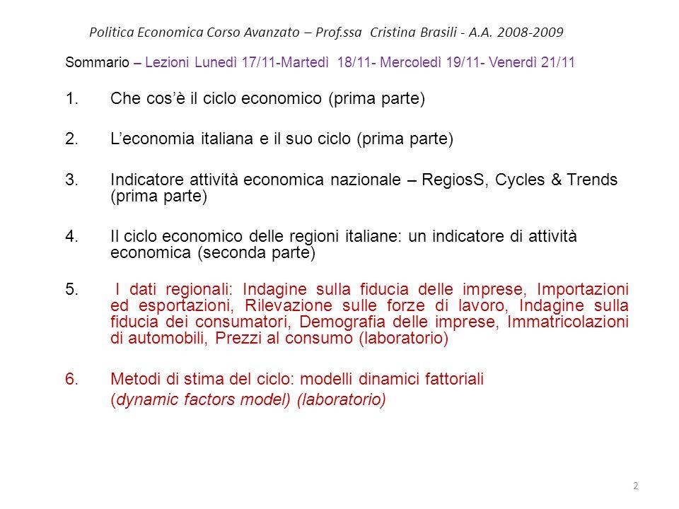 Politica Economica Corso Avanzato – Prof.ssa Cristina Brasili - A.A. 2008-2009 Sommario – Lezioni Lunedì 17/11-Martedì 18/11- Mercoledì 19/11- Venerdì