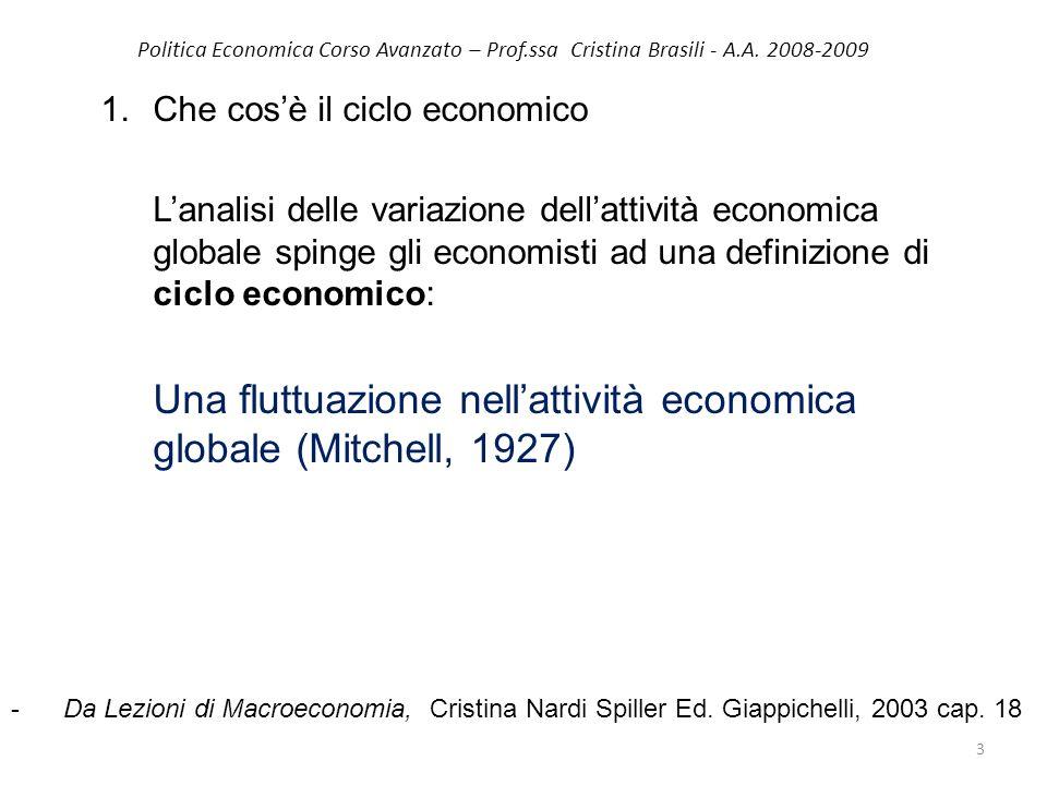 Politica Economica Corso Avanzato – Prof.ssa Cristina Brasili - A.A. 2008-2009 1.Che cosè il ciclo economico Lanalisi delle variazione dellattività ec
