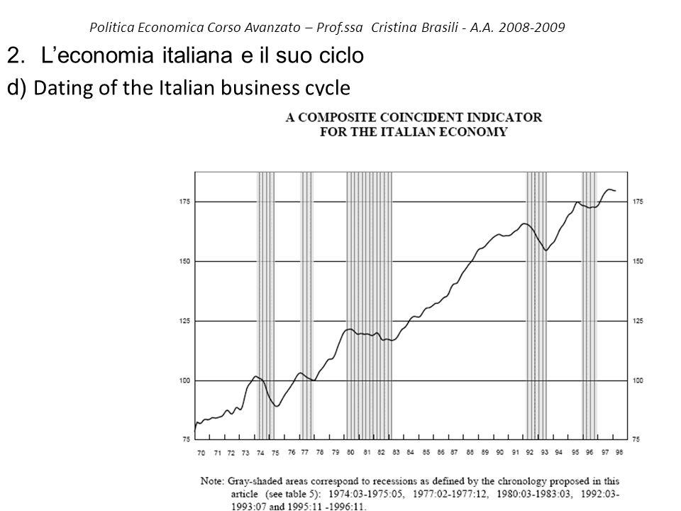 Politica Economica Corso Avanzato – Prof.ssa Cristina Brasili - A.A. 2008-2009 2. Leconomia italiana e il suo ciclo d) Dating of the Italian business