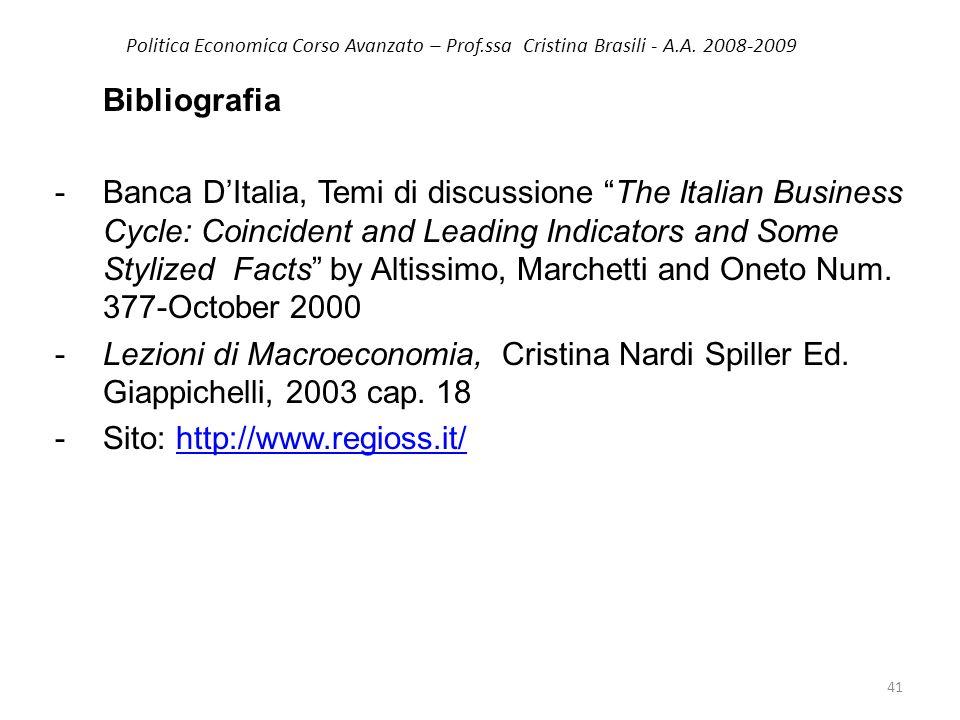 Politica Economica Corso Avanzato – Prof.ssa Cristina Brasili - A.A. 2008-2009 Bibliografia -Banca DItalia, Temi di discussione The Italian Business C