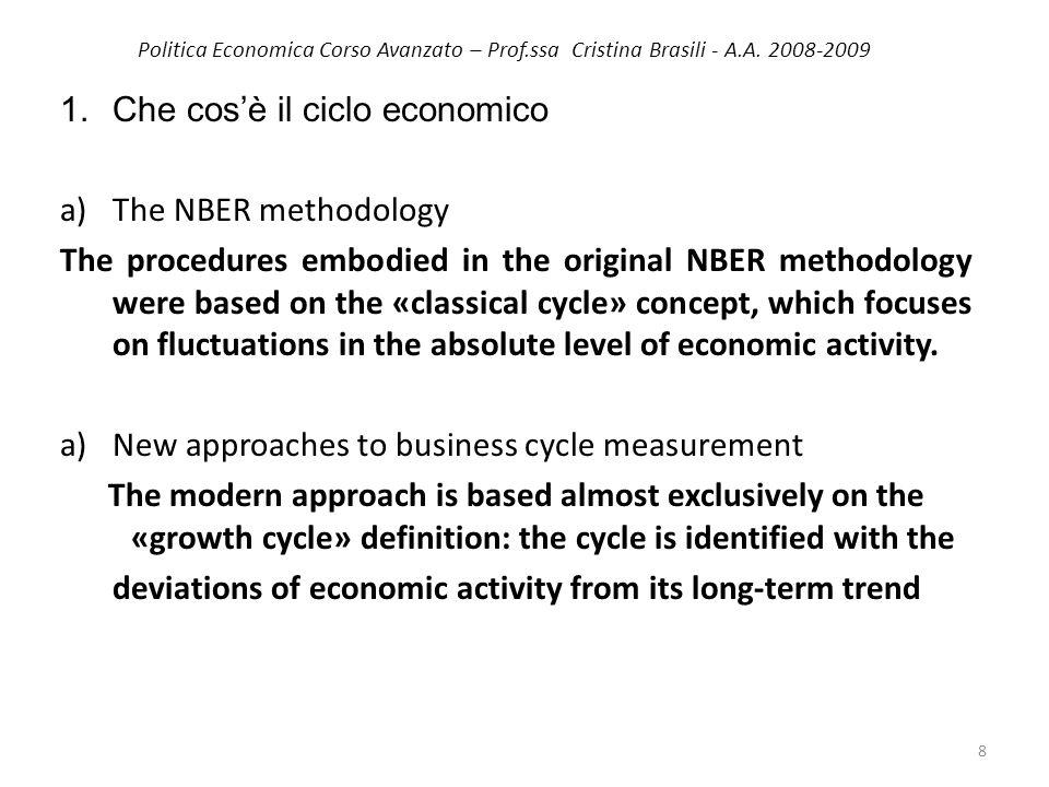 Politica Economica Corso Avanzato – Prof.ssa Cristina Brasili - A.A. 2008-2009 1.Che cosè il ciclo economico a)The NBER methodology The procedures emb