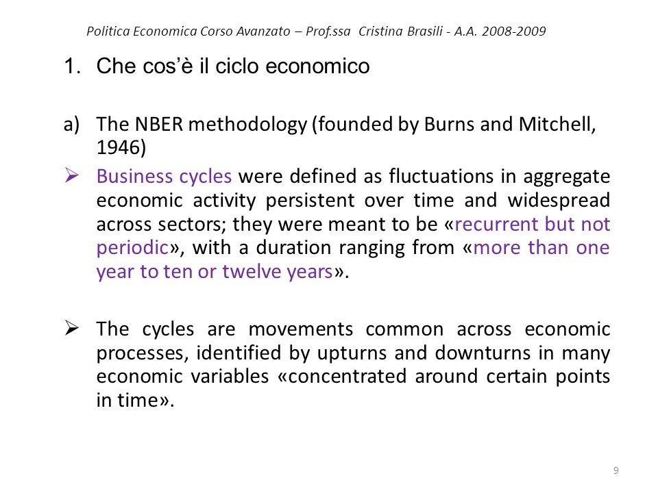 Politica Economica Corso Avanzato – Prof.ssa Cristina Brasili - A.A. 2008-2009 1.Che cosè il ciclo economico a)The NBER methodology (founded by Burns