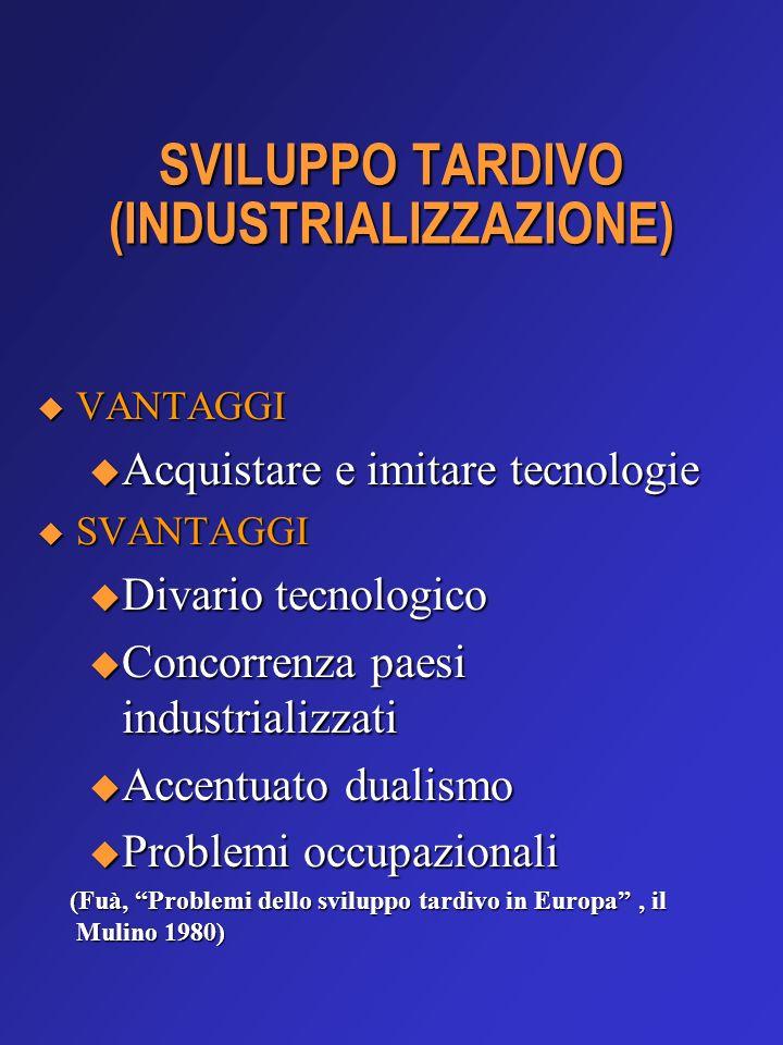 SVILUPPO TARDIVO (INDUSTRIALIZZAZIONE) VANTAGGI VANTAGGI u Acquistare e imitare tecnologie SVANTAGGI SVANTAGGI u Divario tecnologico u Concorrenza pae