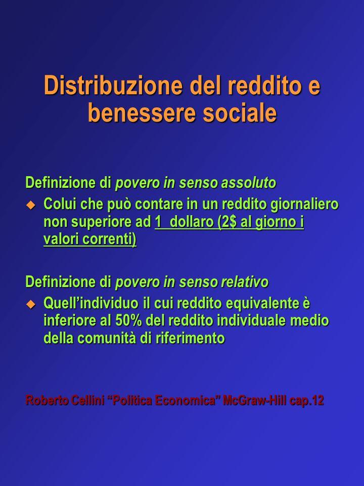 Distribuzione del reddito e benessere sociale Definizione di povero in senso assoluto Colui che può contare in un reddito giornaliero non superiore ad