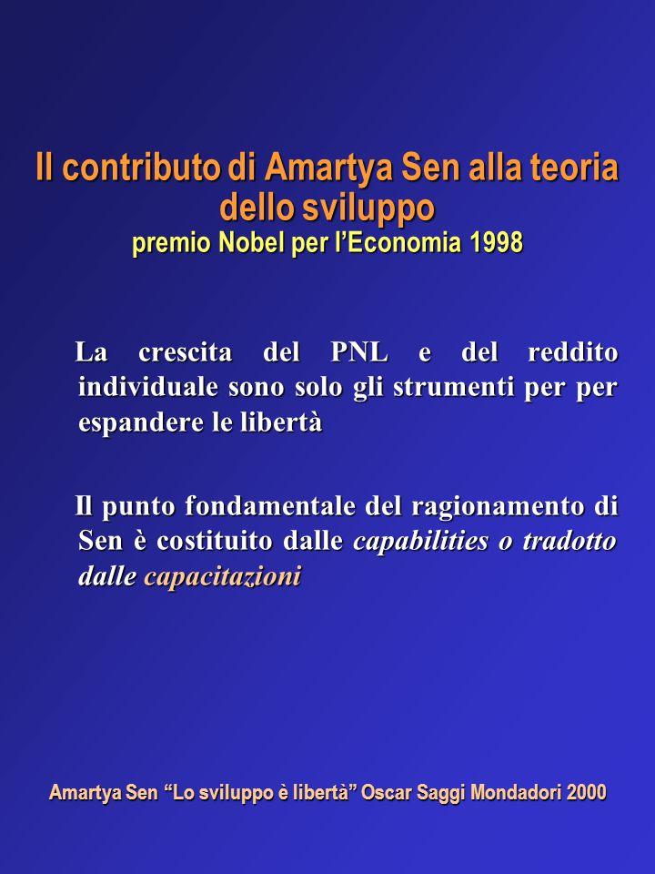 Il contributo di Amartya Sen alla teoria dello sviluppo premio Nobel per lEconomia 1998 La crescita del PNL e del reddito individuale sono solo gli st