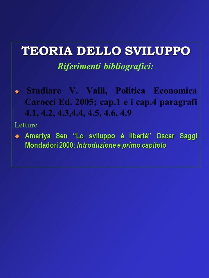TEORIA DELLO SVILUPPO Riferimenti bibliografici: Studiare V. Valli, Politica Economica Carocci Ed. 2005; cap.1 e i cap.4 paragrafi 4.1, 4.2, 4.3,4.4,