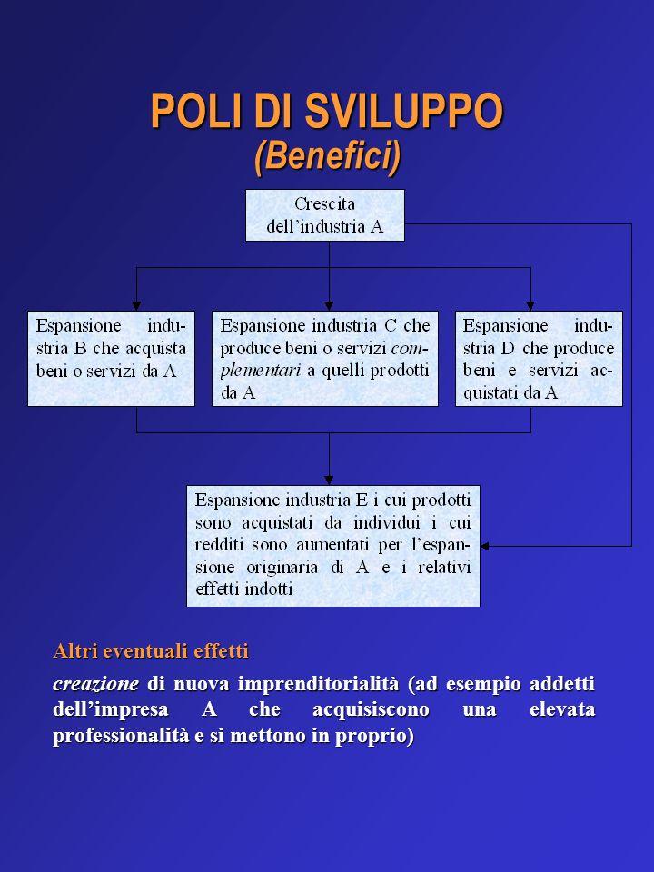POLI DI SVILUPPO (Benefici) Altri eventuali effetti creazione di nuova imprenditorialità (ad esempio addetti dellimpresa A che acquisiscono una elevat