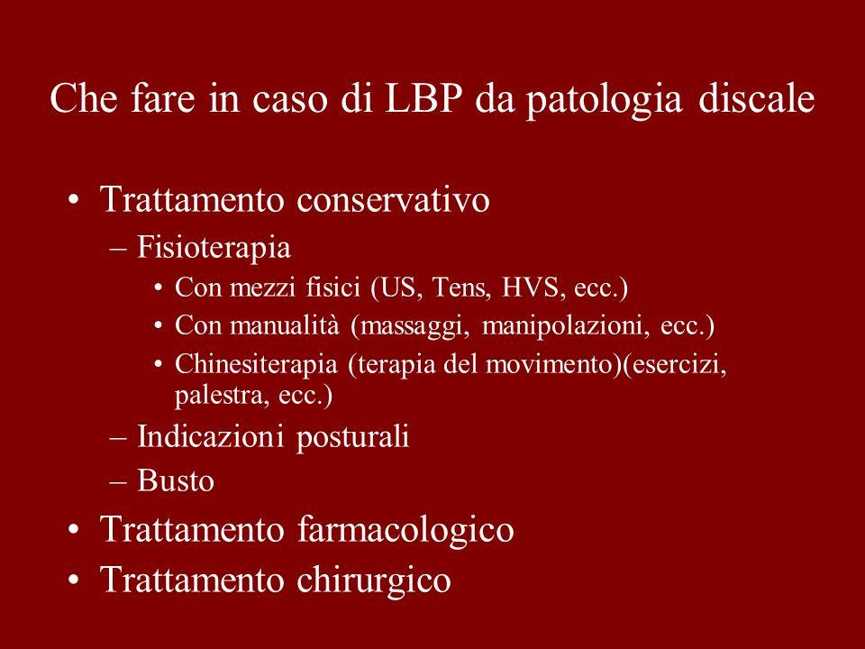 Che fare in caso di LBP da patologia discale Trattamento conservativo –Fisioterapia Con mezzi fisici (US, Tens, HVS, ecc.) Con manualità (massaggi, ma