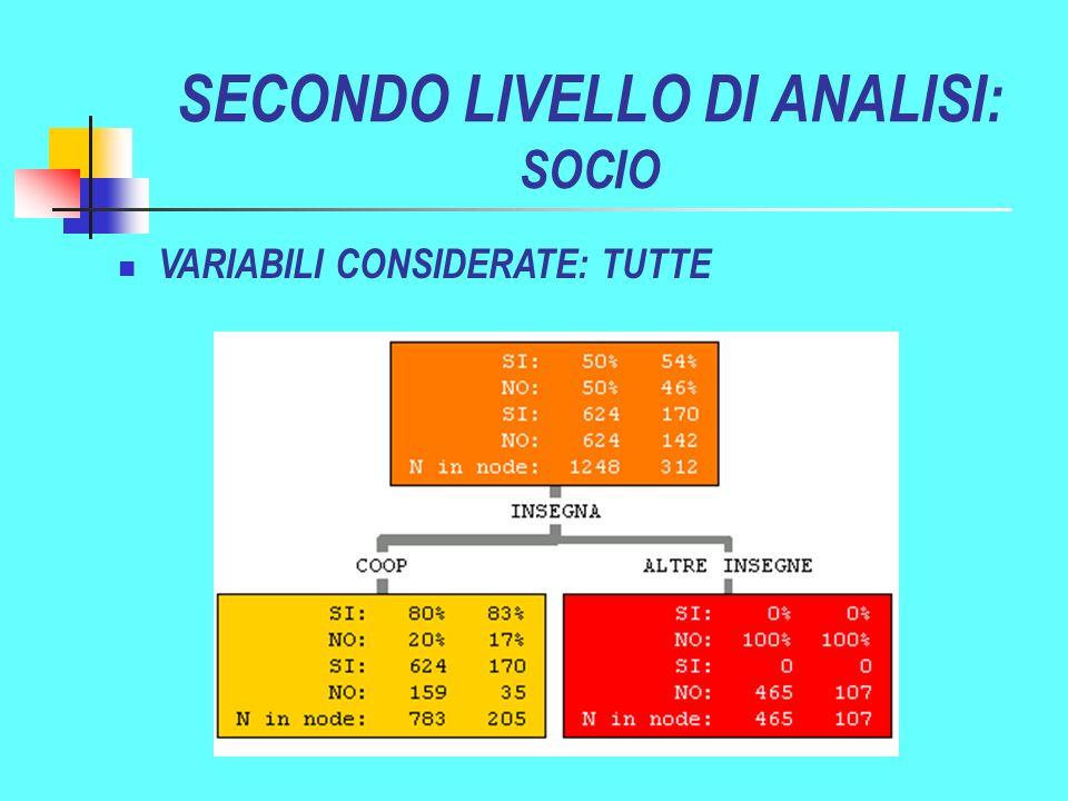 SECONDO LIVELLO DI ANALISI: SOCIO VARIABILI CONSIDERATE: TUTTE