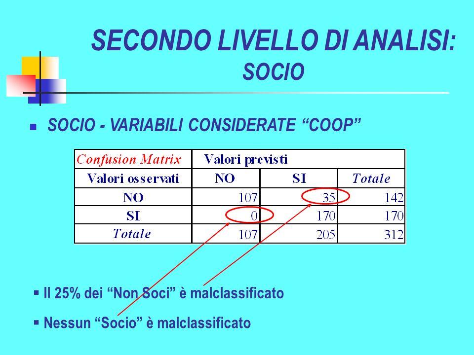 Nessun Socio è malclassificato SOCIO - VARIABILI CONSIDERATE COOP SECONDO LIVELLO DI ANALISI: SOCIO Il 25% dei Non Soci è malclassificato
