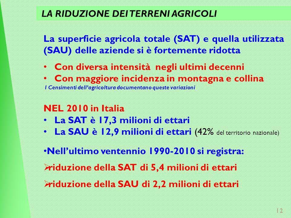 12 La superficie agricola totale (SAT) e quella utilizzata (SAU) delle aziende si è fortemente ridotta Con diversa intensità negli ultimi decenni Con maggiore incidenza in montagna e collina I Censimenti dellagricoltura documentano queste variazioni NEL 2010 in Italia La SAT è 17,3 milioni di ettari La SAU è 12,9 milioni di ettari (42% del territorio nazionale) Nellultimo ventennio 1990-2010 si registra: riduzione della SAT di 5,4 milioni di ettari riduzione della SAU di 2,2 milioni di ettari LA RIDUZIONE DEI TERRENI AGRICOLI
