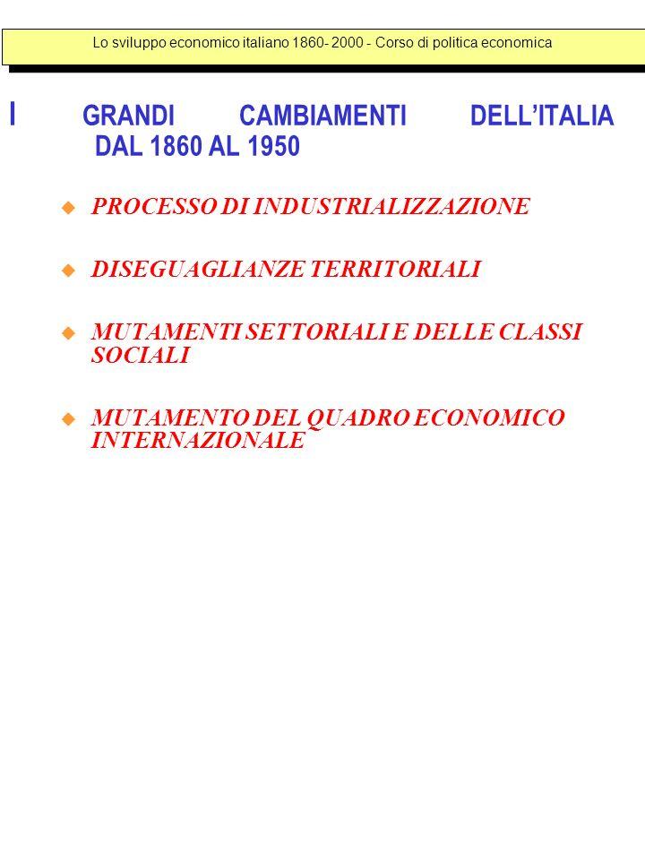 I GRANDI CAMBIAMENTI DELLITALIA DAL 1860 AL 1950 PROCESSO DI INDUSTRIALIZZAZIONE DISEGUAGLIANZE TERRITORIALI MUTAMENTI SETTORIALI E DELLE CLASSI SOCIA