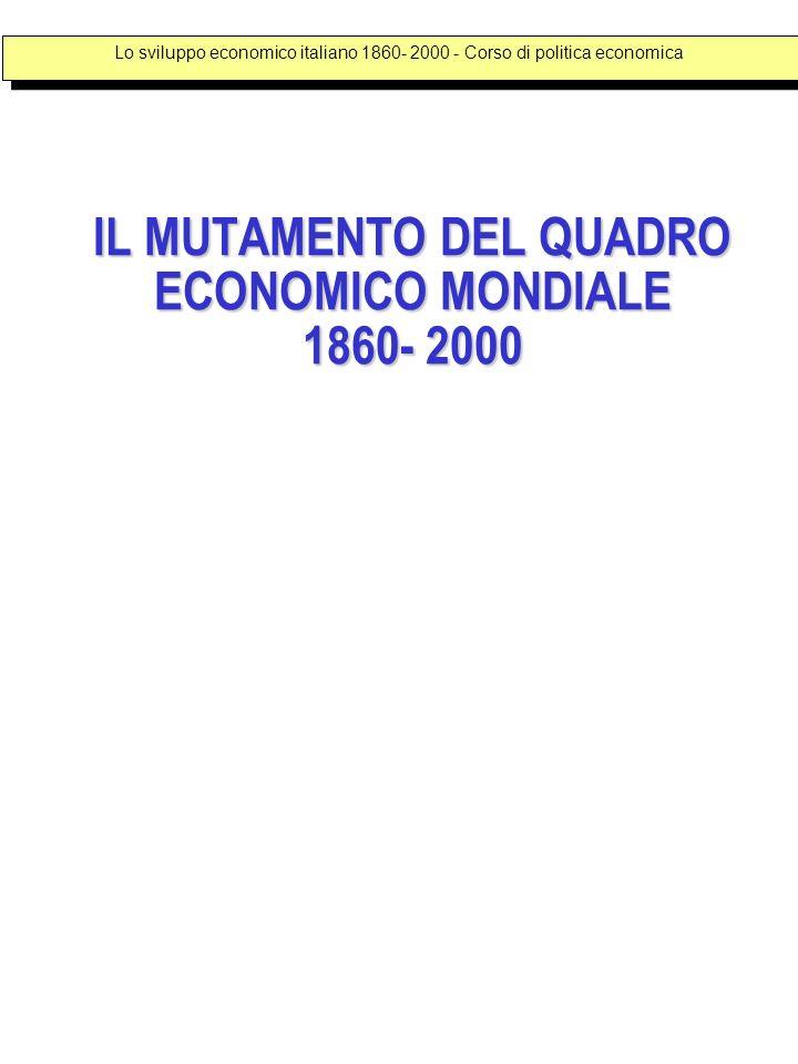 IL MUTAMENTO DEL QUADRO ECONOMICO MONDIALE 1860- 2000 Lo sviluppo economico italiano 1860- 2000 - Corso di politica economica