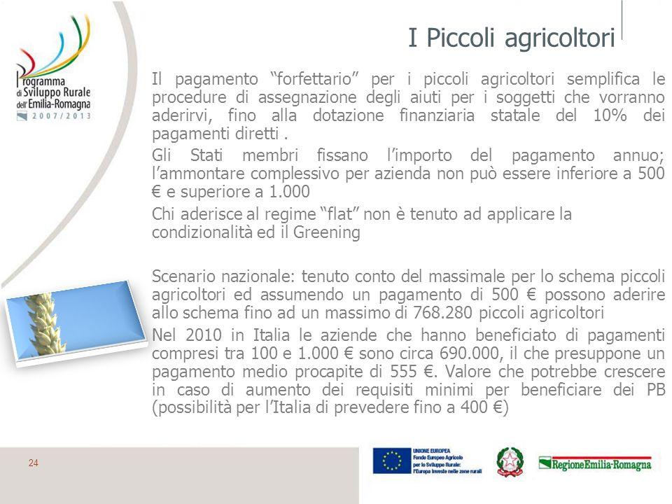 I Piccoli agricoltori Il pagamento forfettario per i piccoli agricoltori semplifica le procedure di assegnazione degli aiuti per i soggetti che vorran