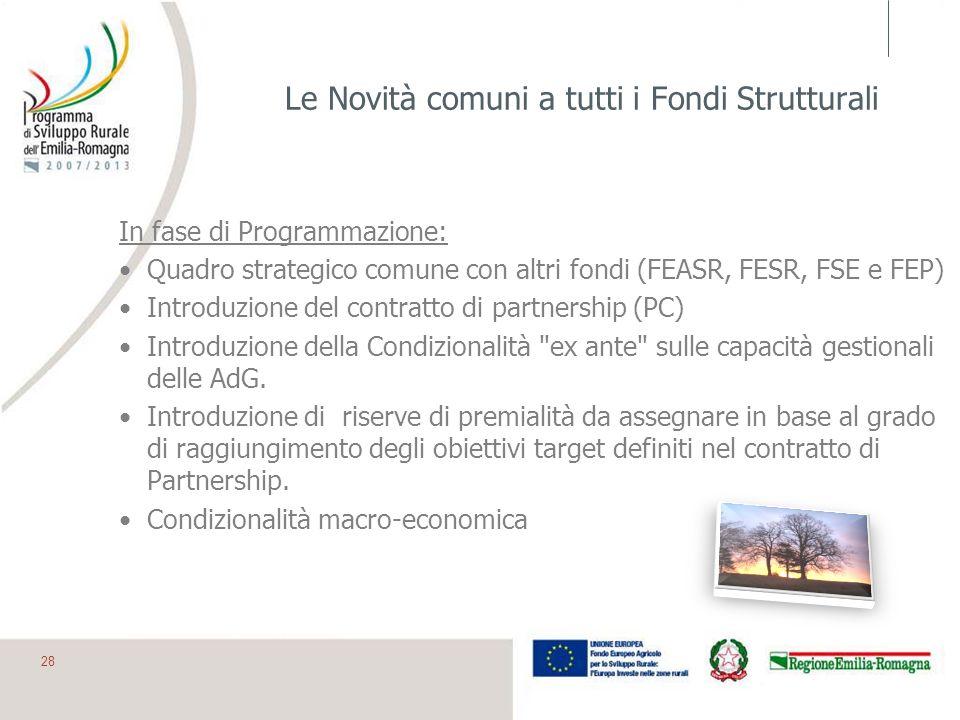 Le Novità comuni a tutti i Fondi Strutturali In fase di Programmazione: Quadro strategico comune con altri fondi (FEASR, FESR, FSE e FEP) Introduzione