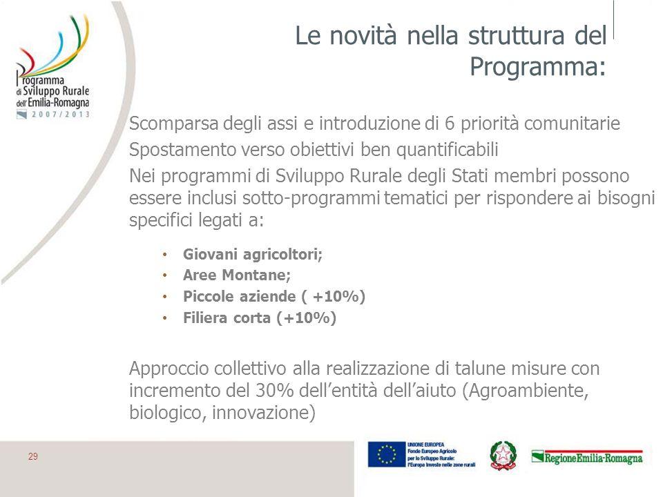 Le novità nella struttura del Programma: Scomparsa degli assi e introduzione di 6 priorità comunitarie Spostamento verso obiettivi ben quantificabili