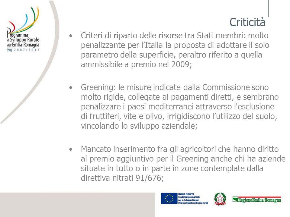 Criticità Criteri di riparto delle risorse tra Stati membri: molto penalizzante per lItalia la proposta di adottare il solo parametro della superficie