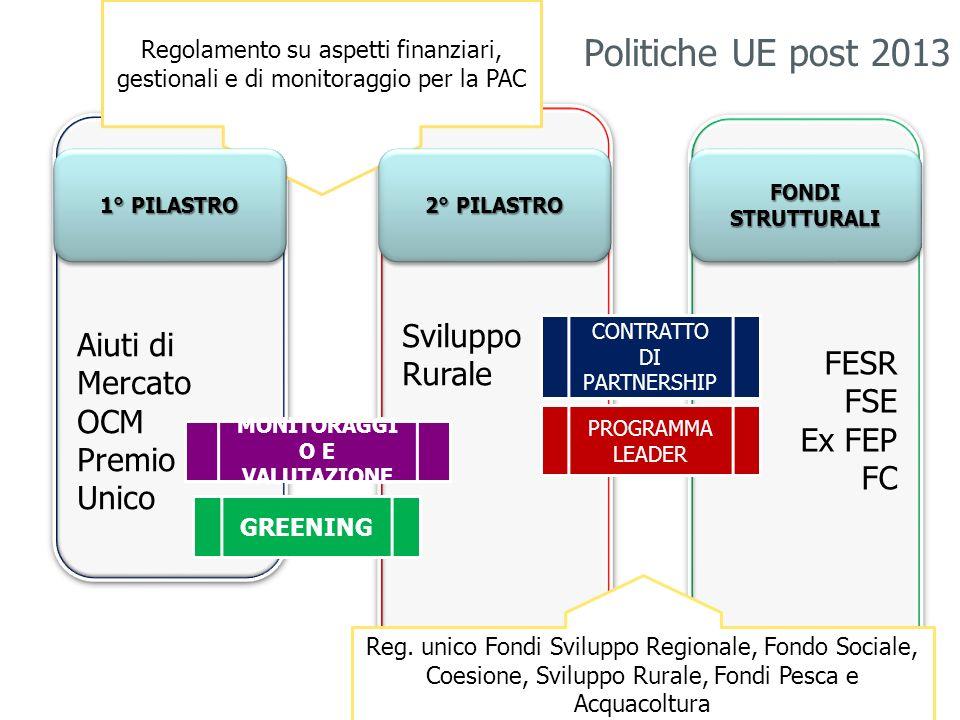Regolamenti oggetto di revisione: -Regolamento quadro per i fondi strutturali che ricadono nel QSC; -Regolamento orizzontale sul finanziamento, sulla gestione e sul monitoraggio della politica agricola comune (fondi agricoli FEASR e FEAGA); -Norme sui pagamenti diretti agli agricoltori nell ambito dei regimi di sostegno previsti dalla PAC; -Sostegno allo sviluppo rurale da parte FEASR; 8