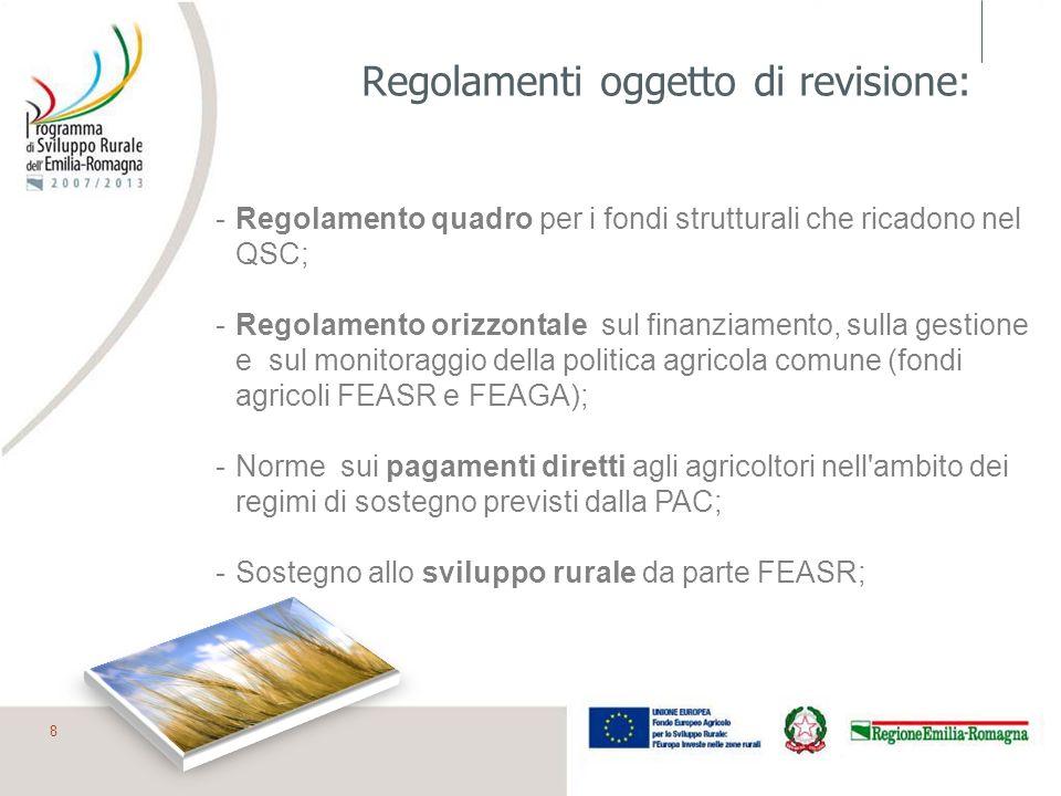 Regolamenti oggetto di revisione: -Regolamento quadro per i fondi strutturali che ricadono nel QSC; -Regolamento orizzontale sul finanziamento, sulla