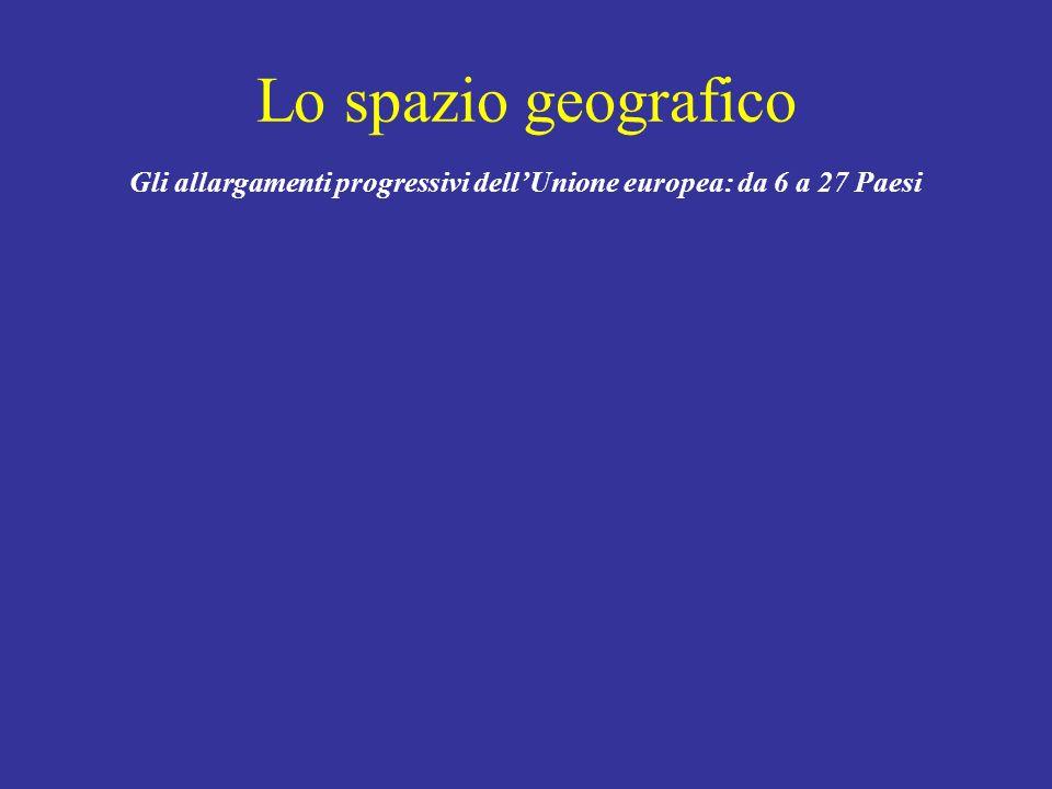 Lo spazio geografico Gli allargamenti progressivi dellUnione europea: da 6 a 27 Paesi