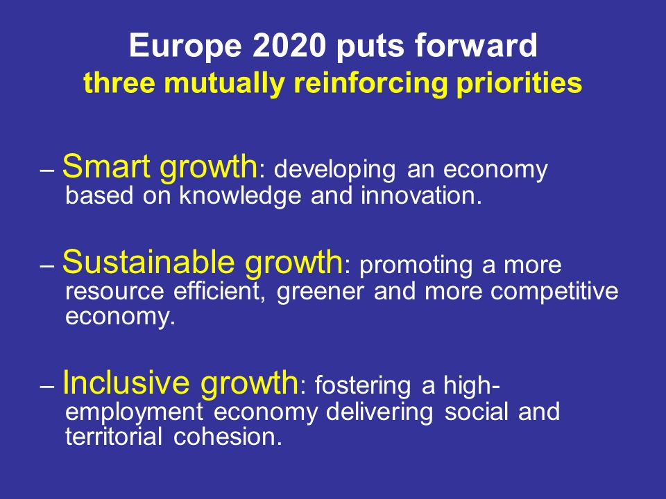 Europe 2020 puts forward three mutually reinforcing priorities – Smart growth : developing an economy based on knowledge and innovation. – Sustainable