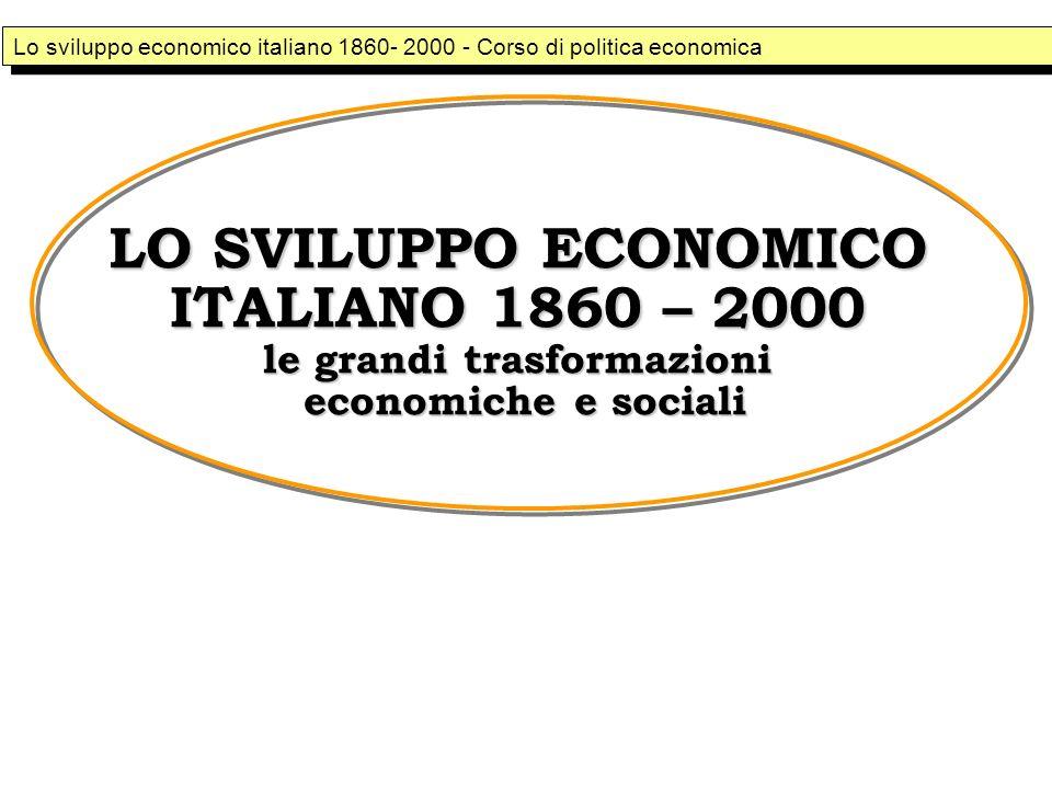 LO SVILUPPO ECONOMICO ITALIANO 1860 – 2000 le grandi trasformazioni economiche e sociali Lo sviluppo economico italiano 1860- 2000 - Corso di politica