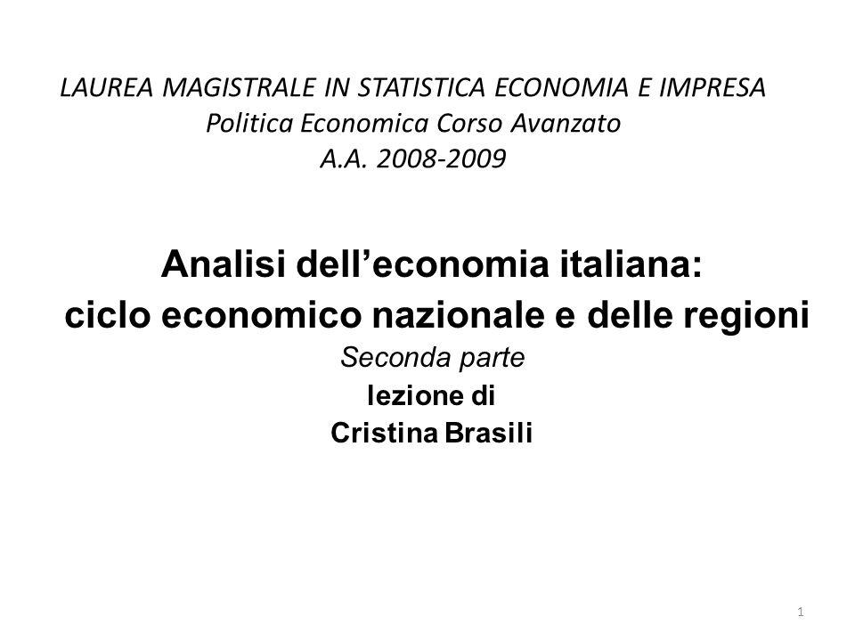 LAUREA MAGISTRALE IN STATISTICA ECONOMIA E IMPRESA Politica Economica Corso Avanzato A.A.