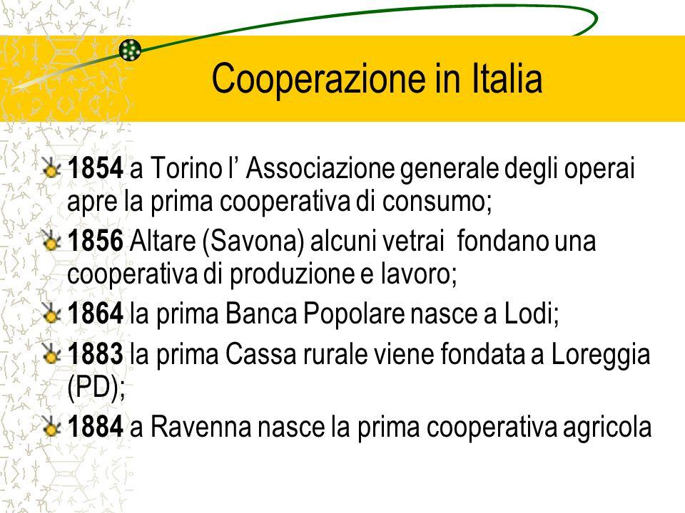 Cooperazione in Italia 1854 a Torino l Associazione generale degli operai apre la prima cooperativa di consumo; 1856 Altare (Savona) alcuni vetrai fon
