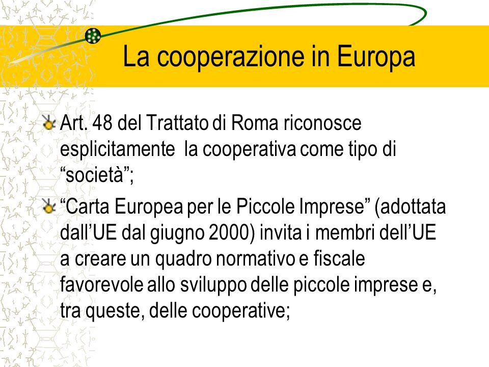 La cooperazione in Europa Art. 48 del Trattato di Roma riconosce esplicitamente la cooperativa come tipo di società; Carta Europea per le Piccole Impr