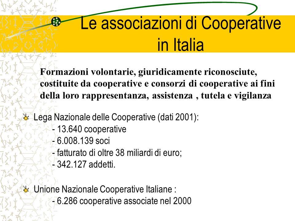 Le associazioni di Cooperative in Italia Lega Nazionale delle Cooperative (dati 2001): - 13.640 cooperative - 6.008.139 soci - fatturato di oltre 38 miliardi di euro; - 342.127 addetti.