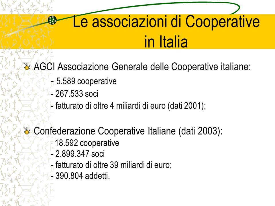 Le associazioni di Cooperative in Italia AGCI Associazione Generale delle Cooperative italiane: - 5.589 cooperative - 267.533 soci - fatturato di oltr