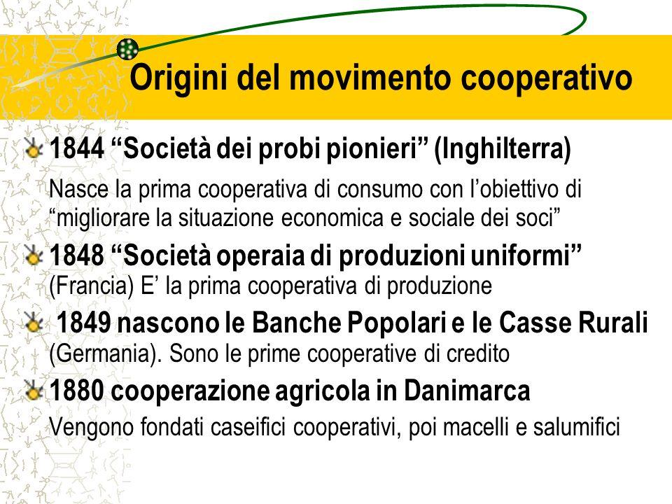 Origini del movimento cooperativo 1844 Società dei probi pionieri (Inghilterra) Nasce la prima cooperativa di consumo con lobiettivo di migliorare la