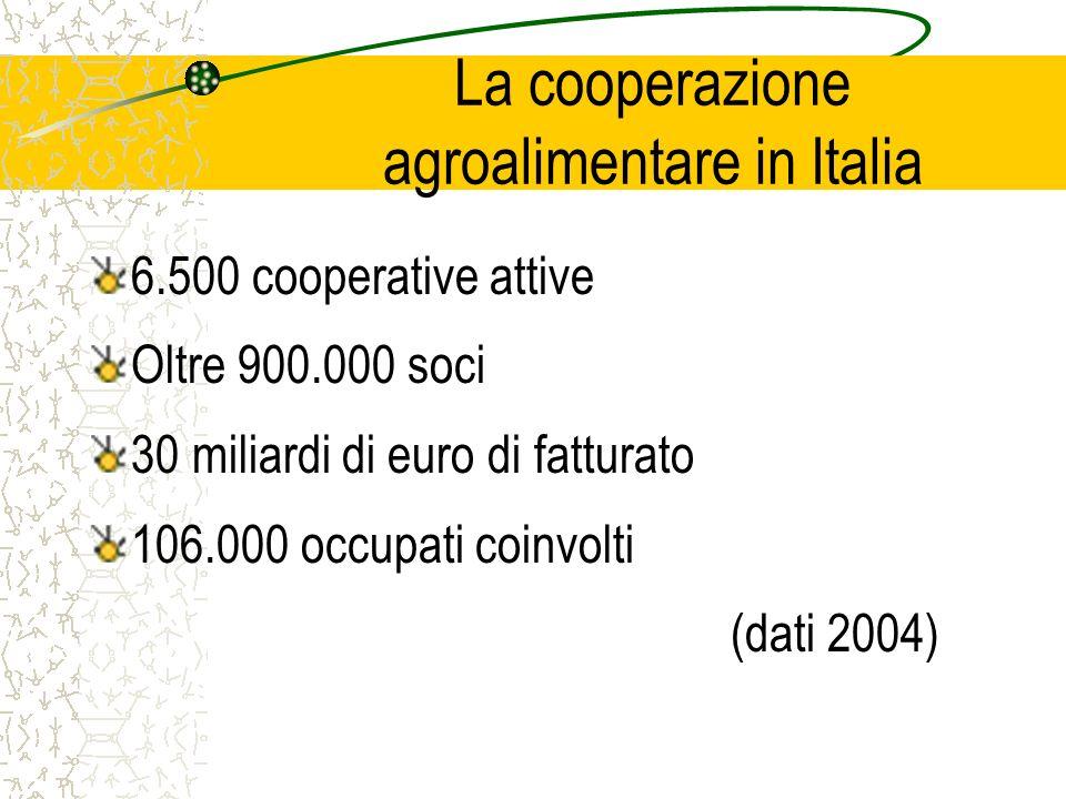 La cooperazione agroalimentare in Italia 6.500 cooperative attive Oltre 900.000 soci 30 miliardi di euro di fatturato 106.000 occupati coinvolti (dati 2004)