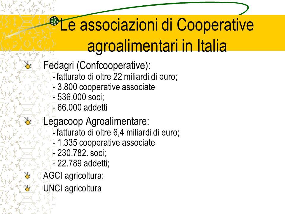 Le associazioni di Cooperative agroalimentari in Italia Fedagri (Confcooperative): - fatturato di oltre 22 miliardi di euro; - 3.800 cooperative associate - 536.000 soci; - 66.000 addetti Legacoop Agroalimentare: - fatturato di oltre 6,4 miliardi di euro; - 1.335 cooperative associate - 230.782.