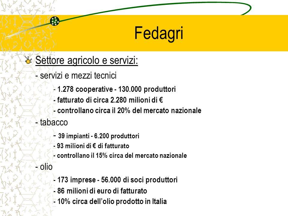 Fedagri Settore agricolo e servizi: - servizi e mezzi tecnici - 1.278 cooperative - 130.000 produttori - fatturato di circa 2.280 milioni di - controllano circa il 20% del mercato nazionale - tabacco - 39 impianti - 6.200 produttori - 93 milioni di di fatturato - controllano il 15% circa del mercato nazionale - olio - 173 imprese - 56.000 di soci produttori - 86 milioni di euro di fatturato - 10% circa dellolio prodotto in Italia