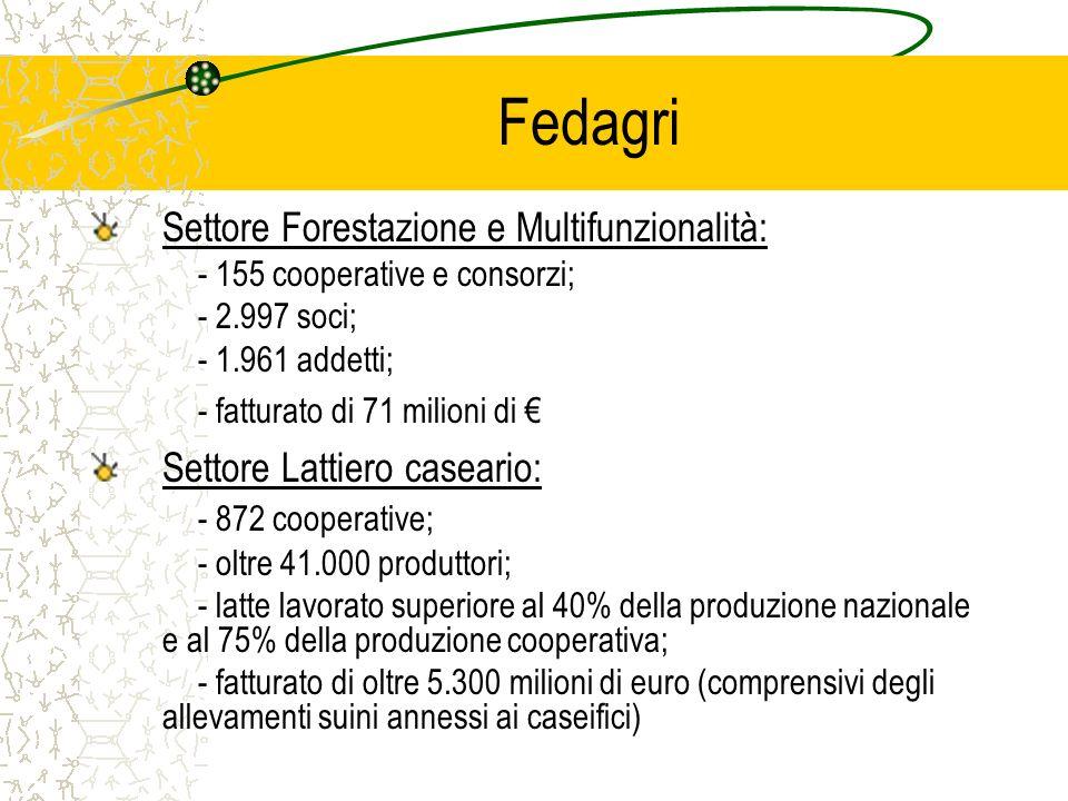 Fedagri Settore Forestazione e Multifunzionalità: - 155 cooperative e consorzi; - 2.997 soci; - 1.961 addetti; - fatturato di 71 milioni di Settore Lattiero caseario: - 872 cooperative; - oltre 41.000 produttori; - latte lavorato superiore al 40% della produzione nazionale e al 75% della produzione cooperativa; - fatturato di oltre 5.300 milioni di euro (comprensivi degli allevamenti suini annessi ai caseifici)