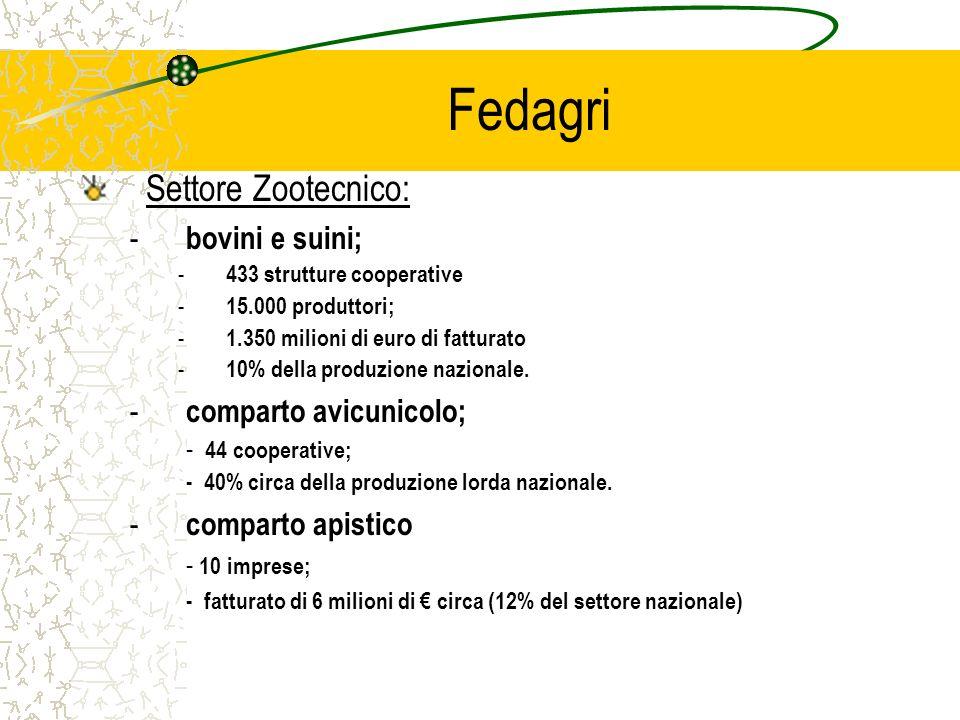 Fedagri Settore Zootecnico: - bovini e suini; - 433 strutture cooperative - 15.000 produttori; - 1.350 milioni di euro di fatturato - 10% della produzione nazionale.