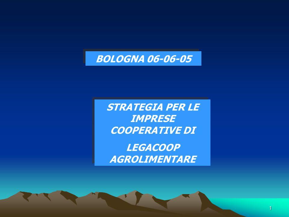1 BOLOGNA 06-06-05 STRATEGIA PER LE IMPRESE COOPERATIVE DI LEGACOOP AGROLIMENTARE STRATEGIA PER LE IMPRESE COOPERATIVE DI LEGACOOP AGROLIMENTARE