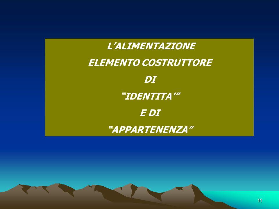 11 LALIMENTAZIONE ELEMENTO COSTRUTTORE DI IDENTITA E DI APPARTENENZA