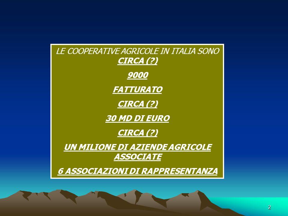 2 LE COOPERATIVE AGRICOLE IN ITALIA SONO CIRCA (?) 9000 FATTURATO CIRCA (?) 30 MD DI EURO CIRCA (?) UN MILIONE DI AZIENDE AGRICOLE ASSOCIATE 6 ASSOCIAZIONI DI RAPPRESENTANZA