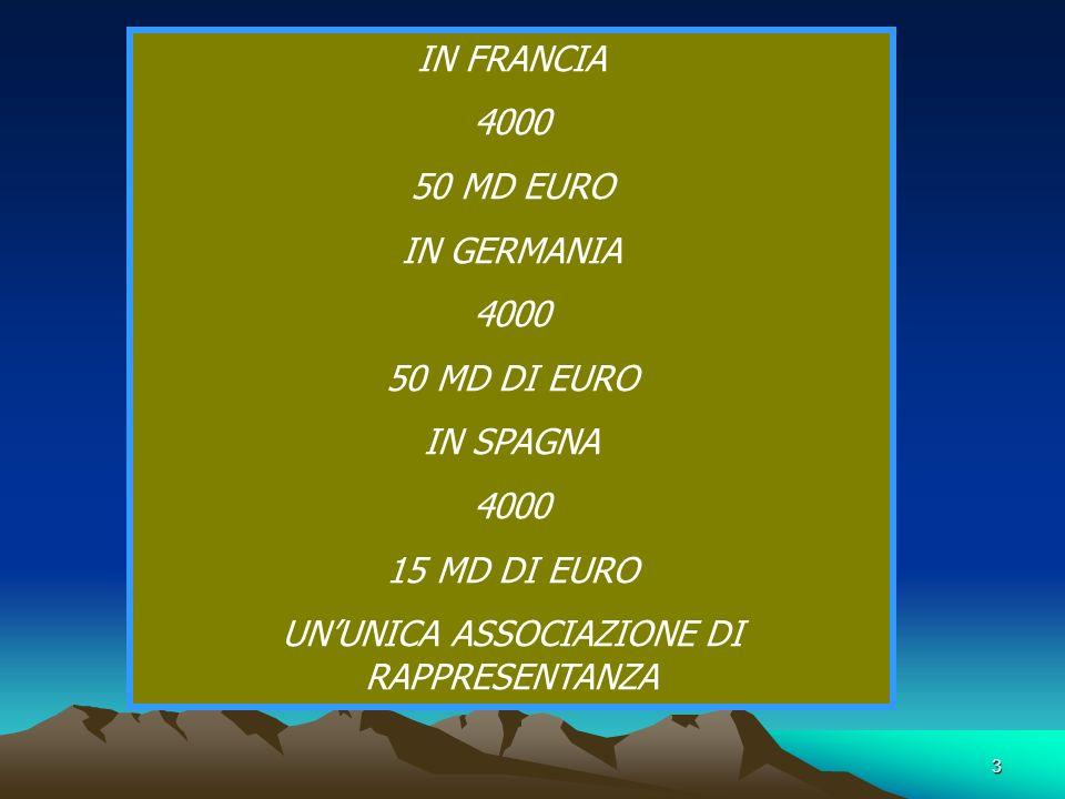 3 IN FRANCIA 4000 50 MD EURO IN GERMANIA 4000 50 MD DI EURO IN SPAGNA 4000 15 MD DI EURO UNUNICA ASSOCIAZIONE DI RAPPRESENTANZA