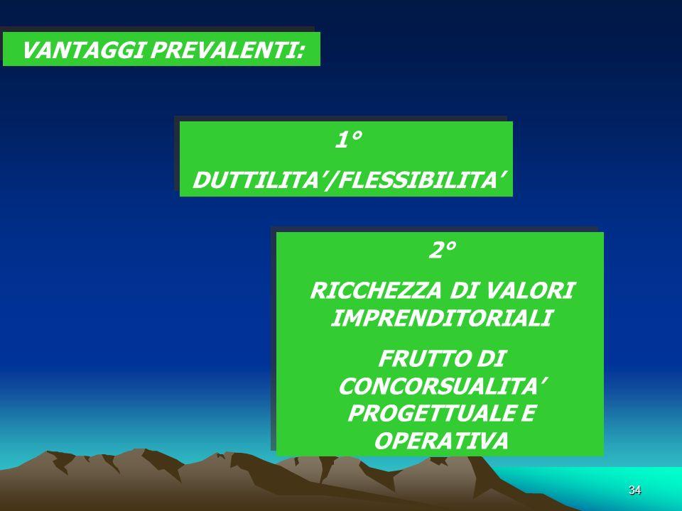 34 VANTAGGI PREVALENTI: 1° DUTTILITA/FLESSIBILITA 1° DUTTILITA/FLESSIBILITA 2° RICCHEZZA DI VALORI IMPRENDITORIALI FRUTTO DI CONCORSUALITA PROGETTUALE E OPERATIVA 2° RICCHEZZA DI VALORI IMPRENDITORIALI FRUTTO DI CONCORSUALITA PROGETTUALE E OPERATIVA