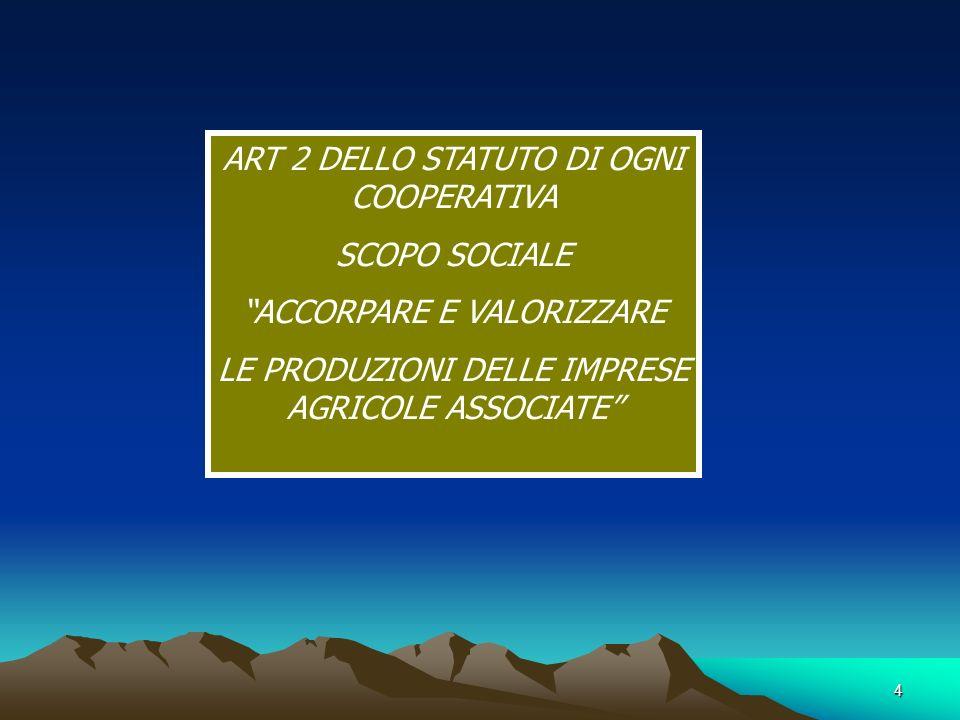 4 ART 2 DELLO STATUTO DI OGNI COOPERATIVA SCOPO SOCIALE ACCORPARE E VALORIZZARE LE PRODUZIONI DELLE IMPRESE AGRICOLE ASSOCIATE