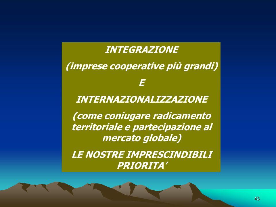 43 INTEGRAZIONE (imprese cooperative più grandi) E INTERNAZIONALIZZAZIONE (come coniugare radicamento territoriale e partecipazione al mercato globale) LE NOSTRE IMPRESCINDIBILI PRIORITA