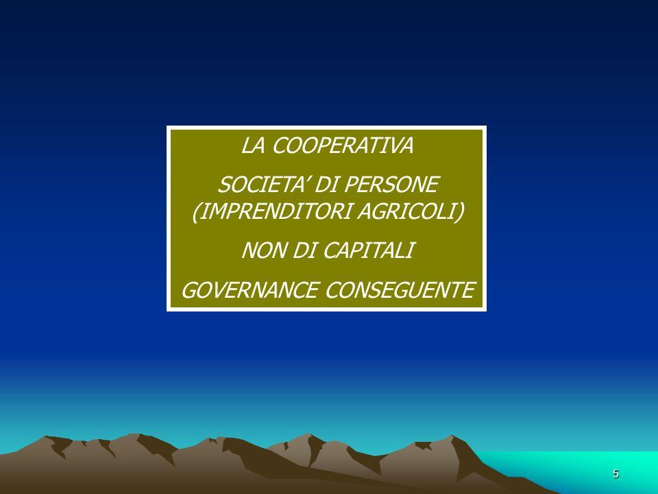 5 LA COOPERATIVA SOCIETA DI PERSONE (IMPRENDITORI AGRICOLI) NON DI CAPITALI GOVERNANCE CONSEGUENTE
