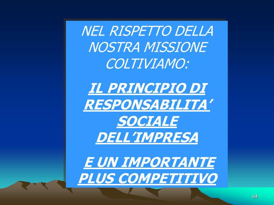 64 NEL RISPETTO DELLA NOSTRA MISSIONE COLTIVIAMO: IL PRINCIPIO DI RESPONSABILITA SOCIALE DELLIMPRESA E UN IMPORTANTE PLUS COMPETITIVO NEL RISPETTO DELLA NOSTRA MISSIONE COLTIVIAMO: IL PRINCIPIO DI RESPONSABILITA SOCIALE DELLIMPRESA E UN IMPORTANTE PLUS COMPETITIVO