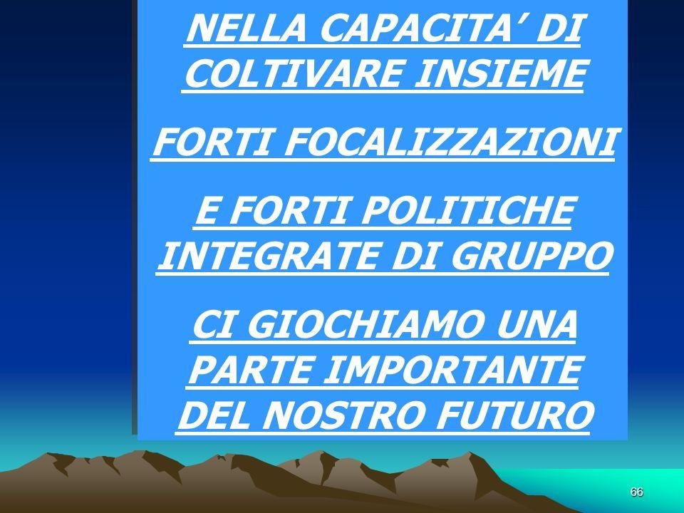 66 NELLA CAPACITA DI COLTIVARE INSIEME FORTI FOCALIZZAZIONI E FORTI POLITICHE INTEGRATE DI GRUPPO CI GIOCHIAMO UNA PARTE IMPORTANTE DEL NOSTRO FUTURO NELLA CAPACITA DI COLTIVARE INSIEME FORTI FOCALIZZAZIONI E FORTI POLITICHE INTEGRATE DI GRUPPO CI GIOCHIAMO UNA PARTE IMPORTANTE DEL NOSTRO FUTURO