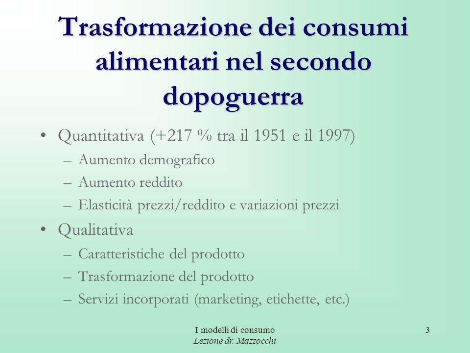 I modelli di consumo Lezione dr. Mazzocchi 3 Trasformazione dei consumi alimentari nel secondo dopoguerra Quantitativa (+217 % tra il 1951 e il 1997)
