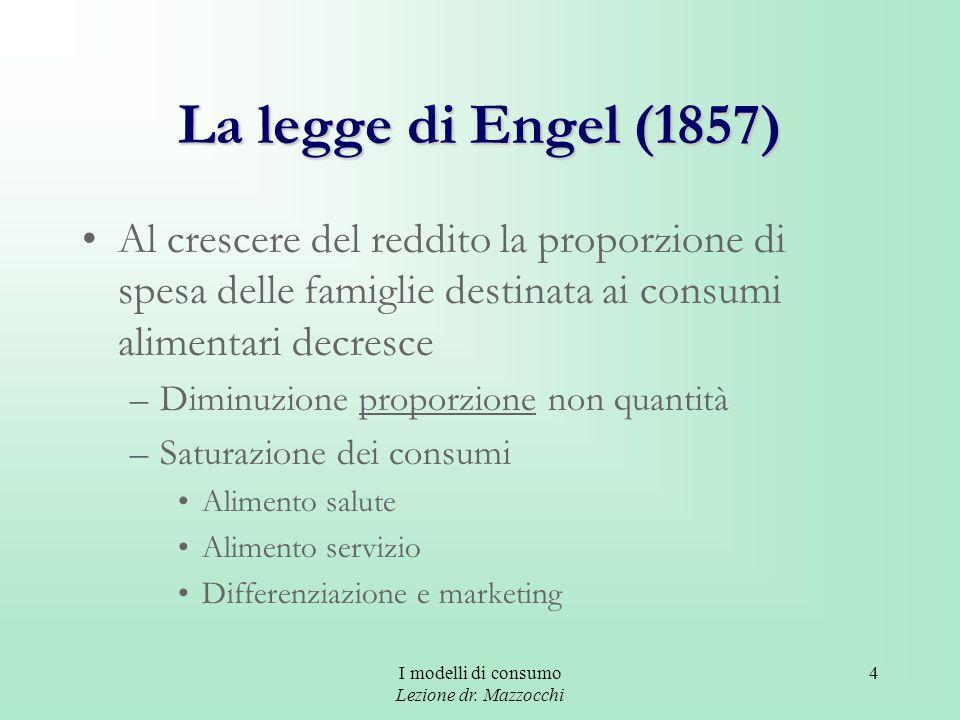 I modelli di consumo Lezione dr. Mazzocchi 4 La legge di Engel (1857) Al crescere del reddito la proporzione di spesa delle famiglie destinata ai cons
